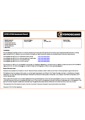 Hydroscand UK Covid-19 Risk Assessment